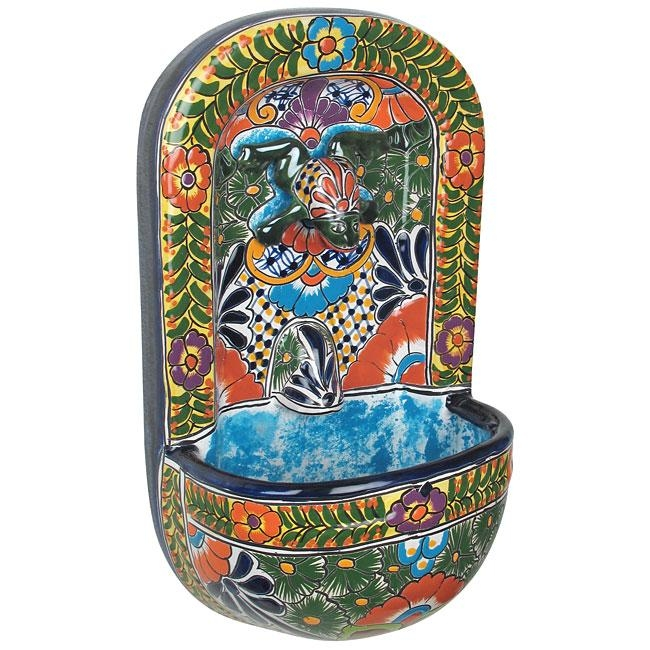 Talavera Wall Fountain With Frog In Mexican Ceramic Wall Art (Image 17 of 20)