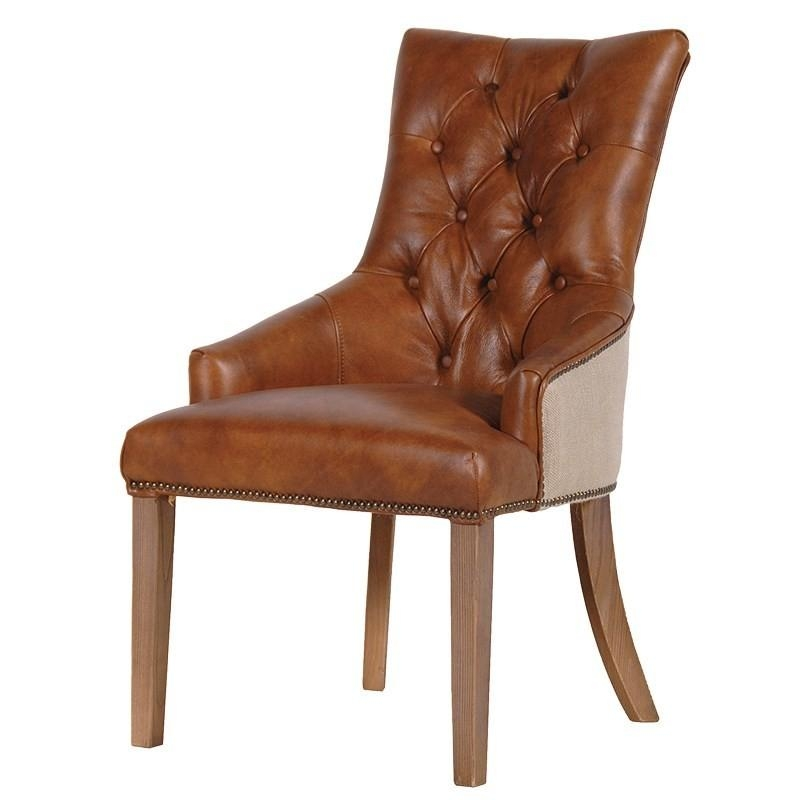 Tan Leather Dining Chair | French Leather Upholstered Dining Chair With Most Current Button Back Dining Chairs (Image 20 of 20)