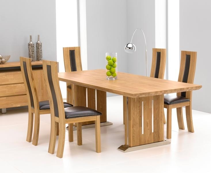 Tavio Oak & Chrome Dining Table – 225Cm & 6 Santander Chairs Regarding Recent Oak Leather Dining Chairs (Image 18 of 20)
