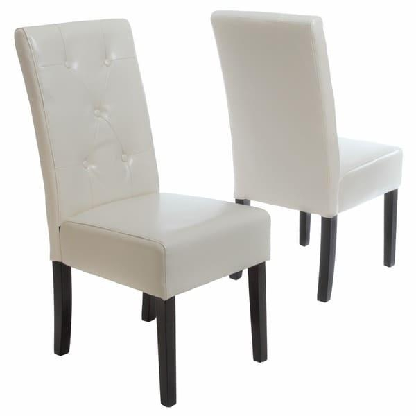 Taylor Ivory Leather Dining Chair Set Of 2Christopher Knight Pertaining To 2018 Ivory Leather Dining Chairs (View 5 of 20)
