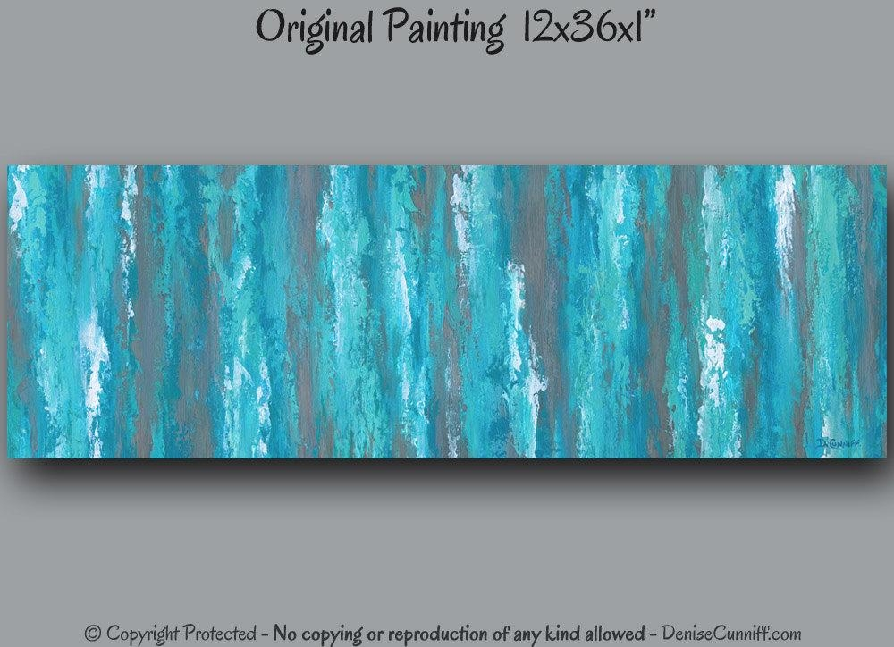 Teal Abstract Canvas Painting Teal Shabby Chic Home Decor Throughout Brown And Turquoise Wall Art (View 15 of 20)