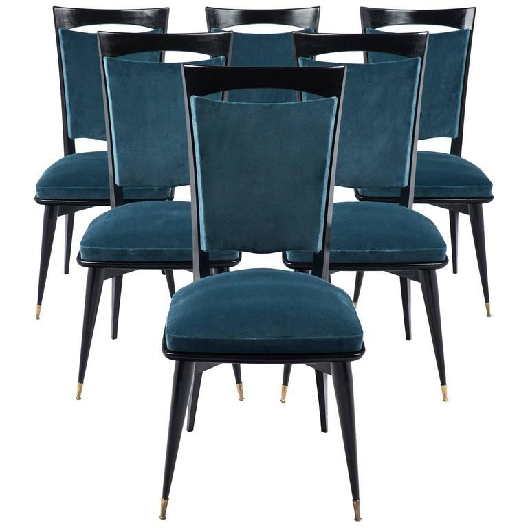 Teal Velvet Mid Century Modern Dining Chairs – Jean Marc Fray In Velvet Dining Chairs (Image 15 of 20)