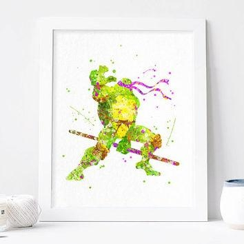 Teenage Mutant Ninja Turtles Donatello From Aquartis | Watercolor Regarding Tmnt Wall Art (Image 14 of 20)