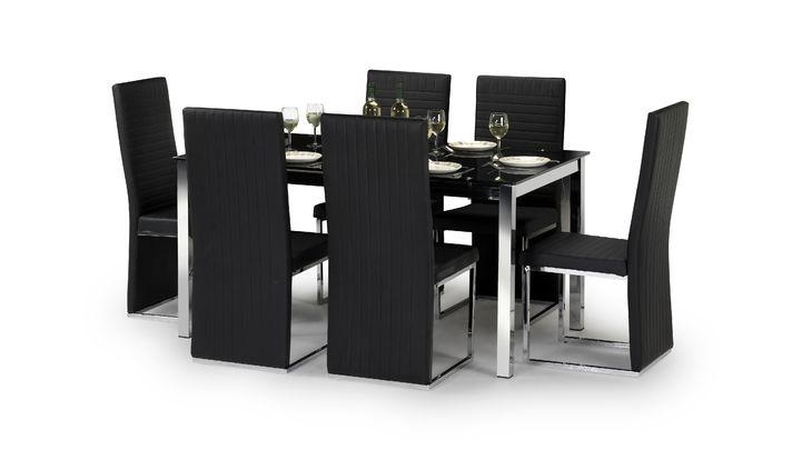 Tempo Chrome And Faux Leather Dining Table & 6 Chairs | Scs Within Recent Scs Dining Tables (View 3 of 20)