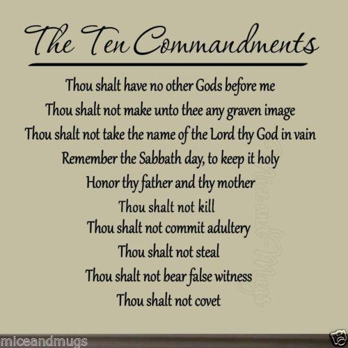 Ten Commandments Vinyl Wall Art Decal Bible Quote God Faith Within 10 Commandments Wall Art (View 17 of 20)