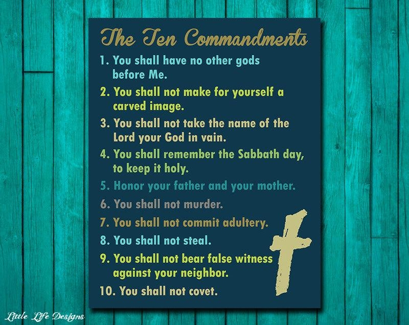 Ten Commandments Wall Art. Christian Wall Decor. Scripture (View 6 of 20)