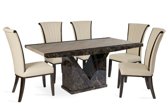 Tenore 160Cm Marble Dining Table With 4 Alpine Cream Chairs For Most Recently Released Marble Dining Chairs (Image 20 of 20)