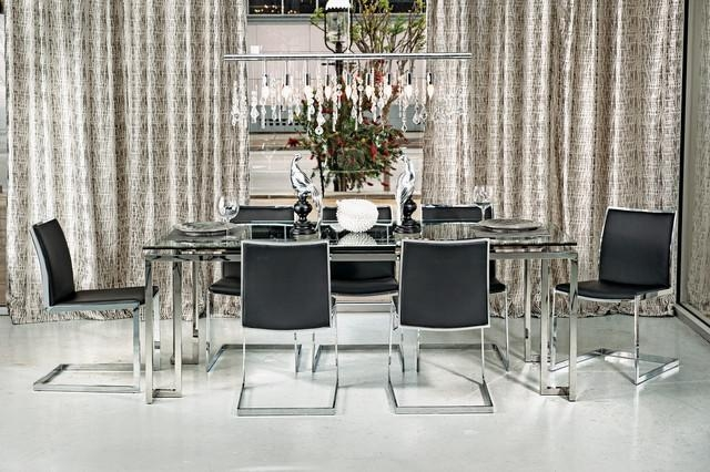 Tessa Dining Table – Mono Chrome – Modern – Dining Room – Houston Within Recent Chrome Dining Room Chairs (Image 16 of 20)