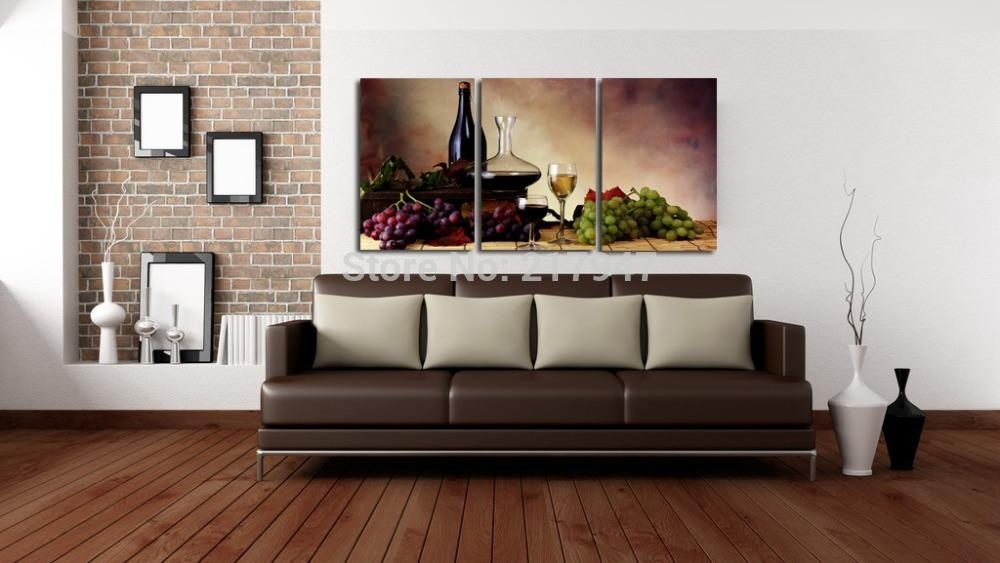 Test Elegant Grape Wine Canvas Modern Wall Oil Painting Abstract Within Wine And Grape Wall Art (View 11 of 20)