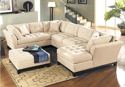 The 148 Inch Wide Cindy Crawford Metropolis Cardinal 3Pc Sectional Pertaining To Cindy Crawford Microfiber Sofas (Image 20 of 20)