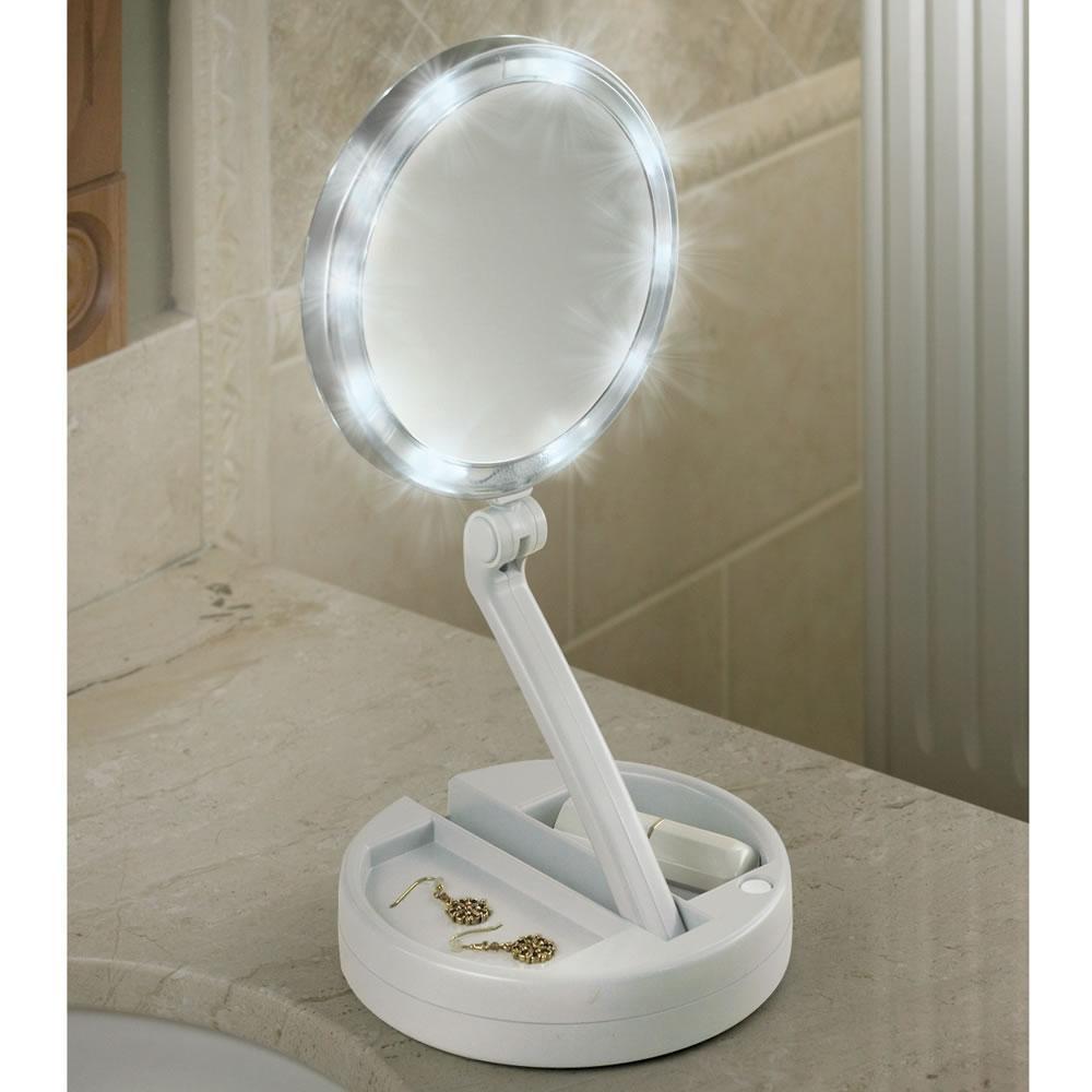 The Brighter Foldaway Vanity Mirror – Hammacher Schlemmer With Regard To Lit Makeup Mirrors (View 9 of 20)