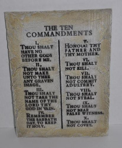 The Ten Commandments Bible Wall Art Hanging Resin Plaque 12 X 8 Throughout Ten Commandments Wall Art (Image 14 of 20)