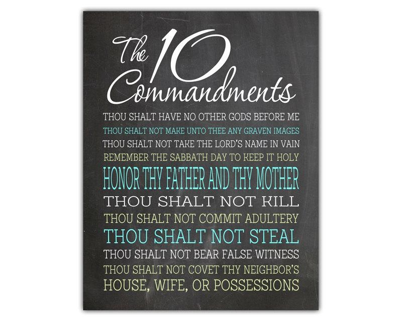 The Ten Commandments Wall Art Religious Quotes Christian With 10 Commandments Wall Art (View 2 of 20)
