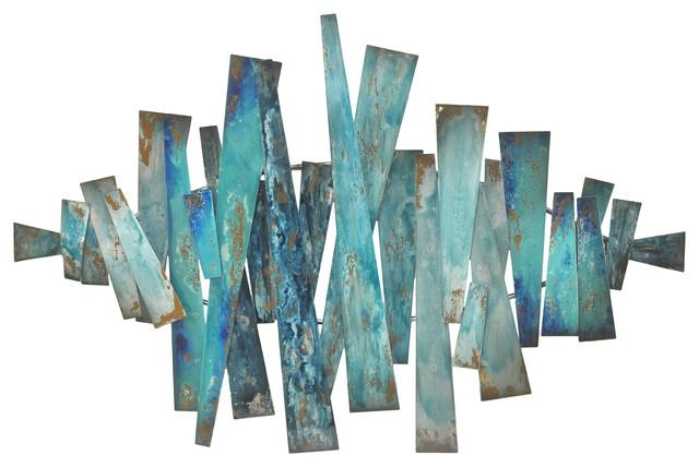 Three Hands Abstract Metal Slats Wall Decor, Blues – Contemporary Throughout Teal Metal Wall Art (Image 18 of 20)