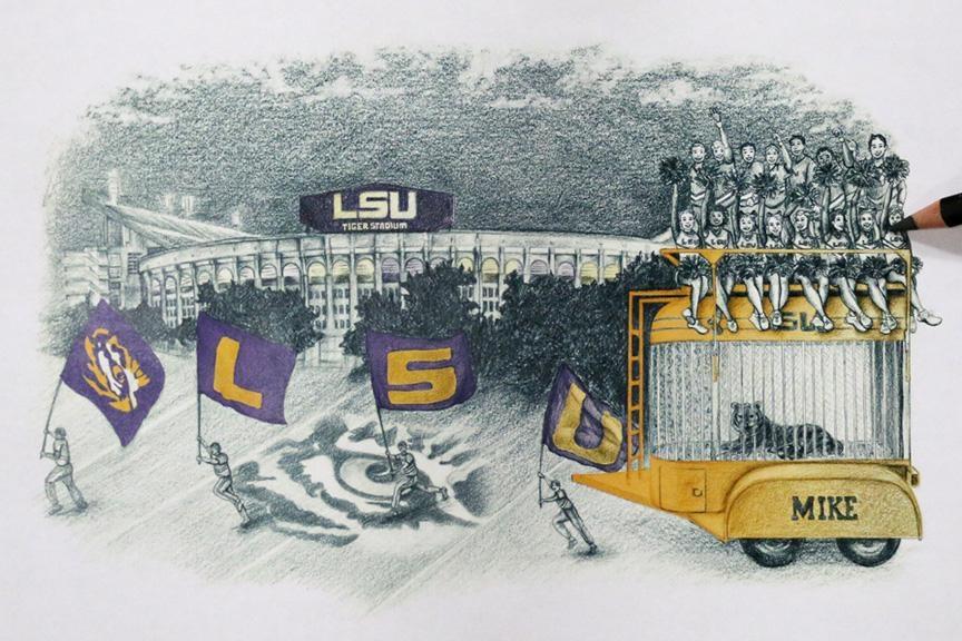 Tiger Stadium 3 D Wall Art – Lsu Tigers Football Regarding Lsu Wall Art (Image 18 of 20)