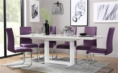 Tokyo White High Gloss Extending Dining Table And 4 Chairs Set Intended For Latest Dining Tables And Purple Chairs (View 14 of 20)