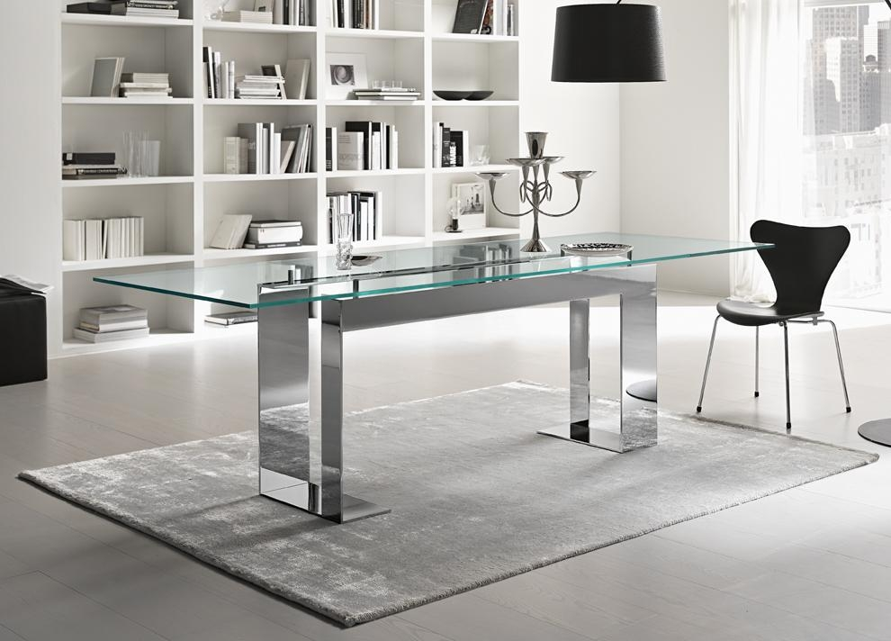 Tonelli Miles Glass & Chrome Dining Table | Contemporary Dining Tables Pertaining To Best And Newest Chrome Dining Room Sets (View 3 of 20)