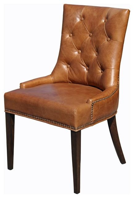 Top Grain Leather Dining Chair – Traditional – Dining Chairs – For Brown Leather Dining Chairs (View 10 of 20)
