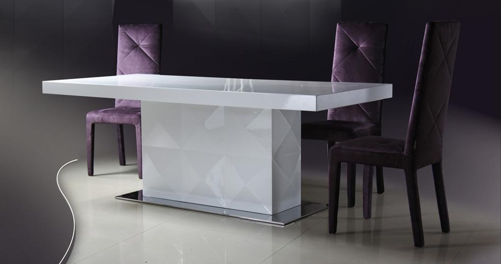 Top Modern Dining Table W/optional Chairs Rossetto Slide Table Pertaining To Best And Newest Shiny White Dining Tables (Image 18 of 20)