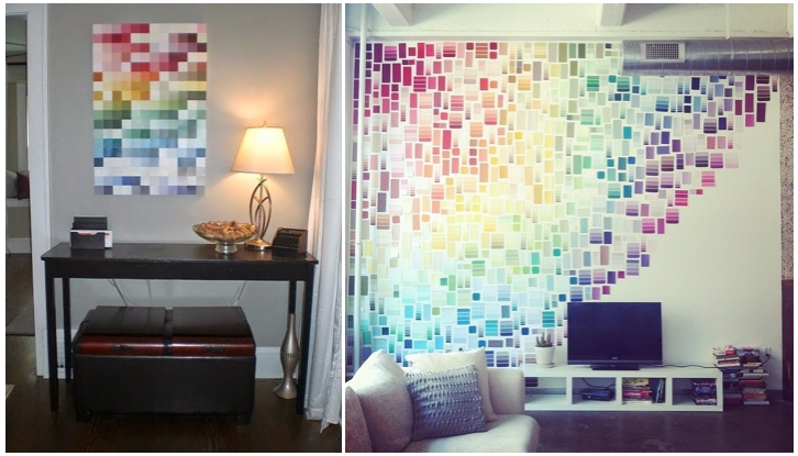 Top Ten Ways To Makeover Your Living Space While On A Budget In Paint Swatch Wall Art (Image 19 of 20)