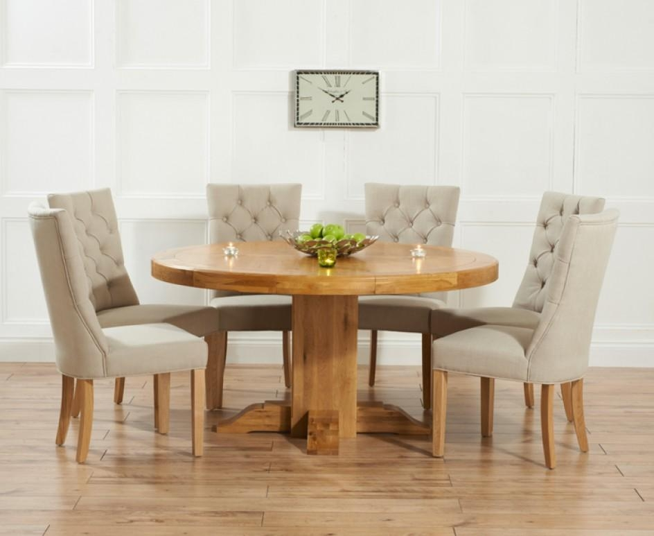 Torino 150Cm Solid Oak Round Pedestal Dining Table With Anais In Best And Newest Dining Tables And Fabric Chairs (Image 20 of 20)
