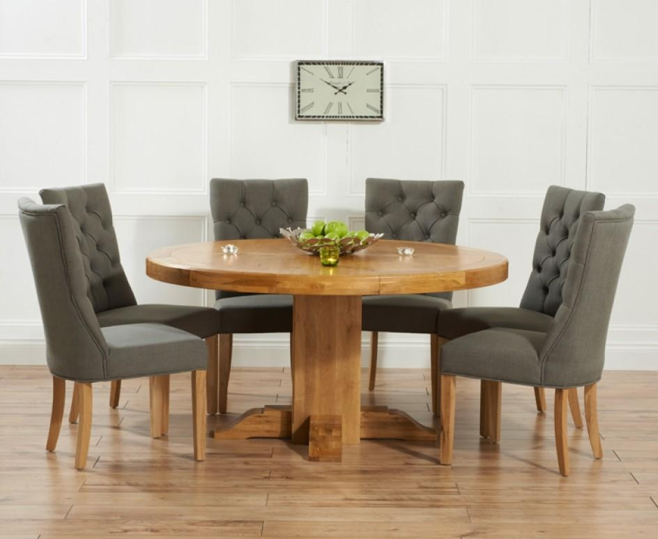 Torino 150Cm Solid Oak Round Pedestal Dining Table With Anais Inside Current Oak Dining Tables And Fabric Chairs (Image 19 of 20)