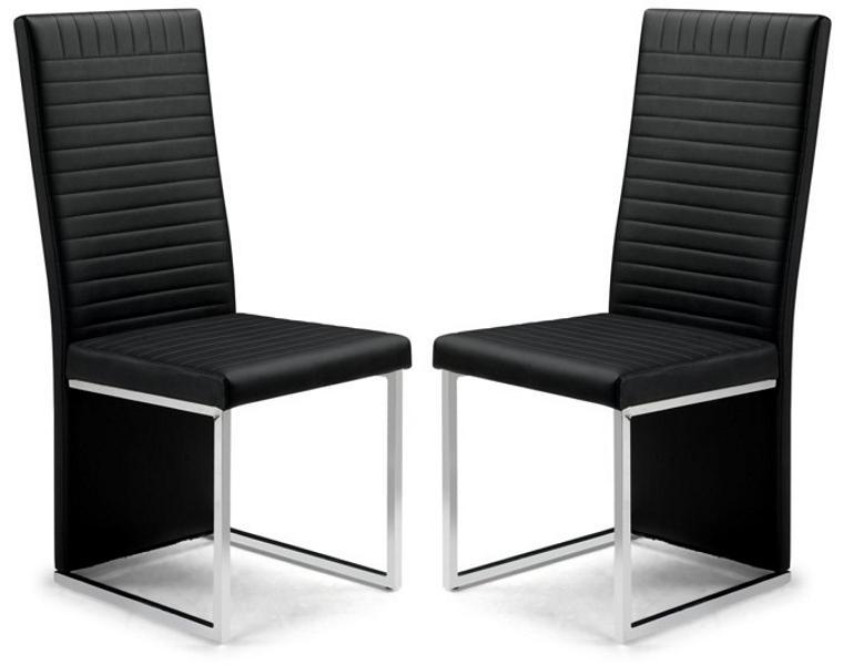 Toronto Black Faux Leather & Chrome Dining Chairs Sale Now On Your In 2017 Chrome Dining Chairs (View 12 of 20)