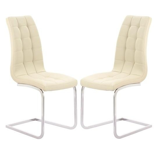 Torres Dining Chair In Cream Faux Leather With Chrome Legs Within Cream Leather Dining Chairs (Image 20 of 20)