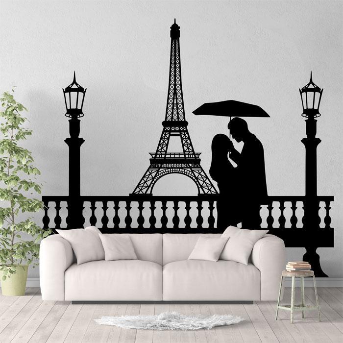 Tower Couple Under Umbrella Vinyl Wall Art Decal Inside Eiffel Tower Wall Art (Image 15 of 20)