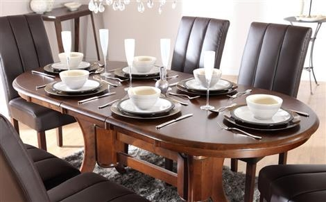 Townhouse Oval Dark Wood Extending Dining Table And 6 Chairs Set Within 2017 Dark Wood Dining Tables And 6 Chairs (Image 19 of 20)