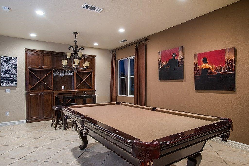 Traditional Game Room With Limestone Tile Floors In Leona Valley Regarding Wall Art For Game Room (Image 19 of 20)