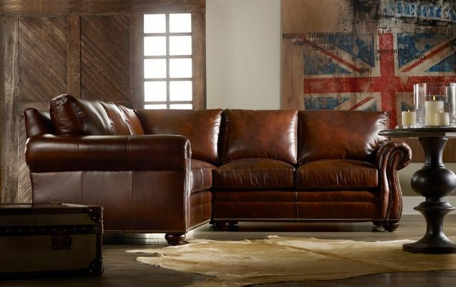 Traditional Lawson Arm Leather Sectional Sofa – Plushemisphere Pertaining To Traditional Leather Sectional Sofas (View 2 of 20)