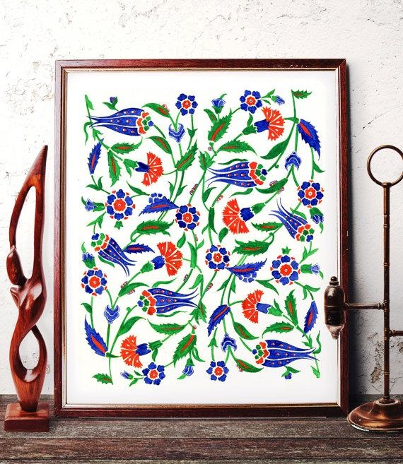 Traditional Ottoman Motif Watercolor Wall Art Blue Tulip And Pertaining To Turkish Wall Art (View 7 of 20)