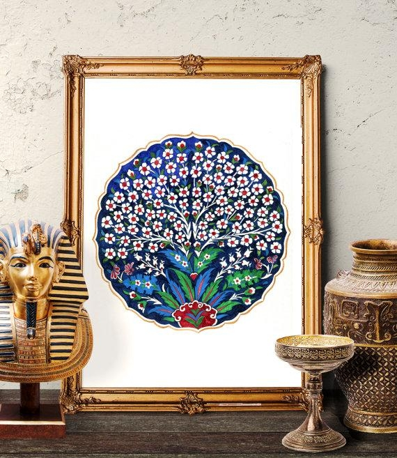 Traditional Ottoman Tree Of Life Wall Art Turkish Tile Tree With Regard To Turkish Wall Art (View 4 of 20)
