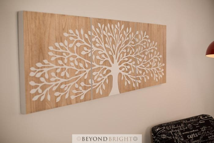 Tree Of Life 50 X 50Cm – Reverse White – 3 Panels Triptych Wall Art With Regard To Tree Of Life Wood Carving Wall Art (Image 10 of 20)