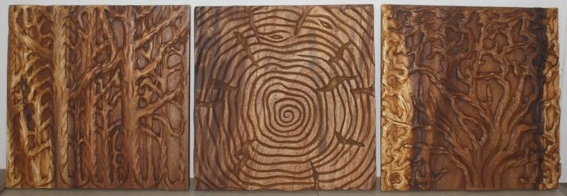 Tree Of Life Art, Thai Wall Decor Carved Wood Panel Solid|Through (Image 11 of 20)