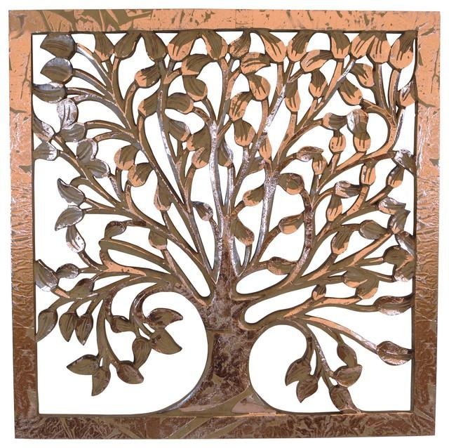 Ideas of tree life wood carving wall art