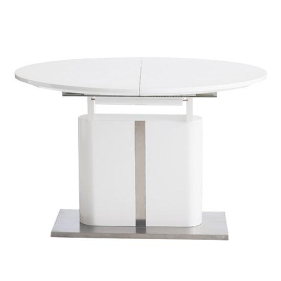 Tripton Extendable Dining Table In White Gloss With Chrome Within Most Recent White Oval Extending Dining Tables (Image 19 of 20)