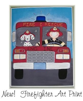 Truck Firefighter & Dog Wall Art Print With Regard To Fire Truck Wall Art (View 7 of 20)