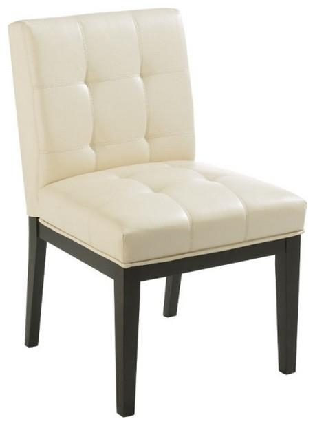 Tufted Low Back Leather Chair – Transitional – Dining Chairs – With Regard To Current Cream Faux Leather Dining Chairs (View 10 of 20)