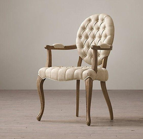 Tufted Round Arm Fabric Covered Leather Dining Chair , Elegant Throughout Newest Fabric Covered Dining Chairs (View 18 of 20)