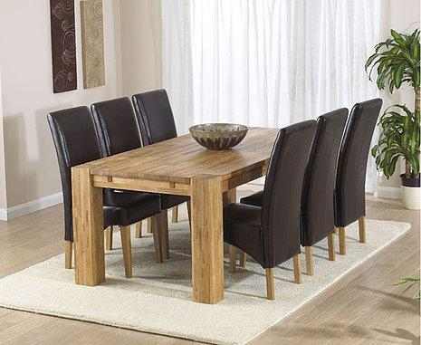 Turin Oak Dining Table – 200Cm & 6 Rochelle Leather Chairs In Most Recently Released Oak Dining Tables And Leather Chairs (Image 20 of 20)
