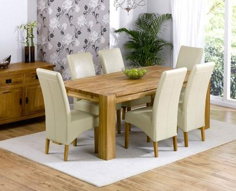 Turin Oak Dining Table – 200Cm & 6 Rochelle Leather Chairs Pertaining To Most Recent Cream Dining Tables And Chairs (View 12 of 20)
