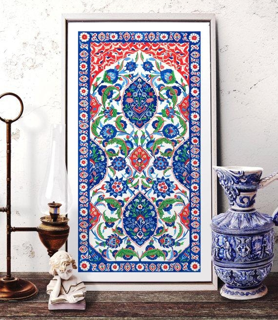 Turkish Ornament Tile Watercolor Art Ottoman Iznik Tile Pertaining To Turkish Wall Art (View 5 of 20)