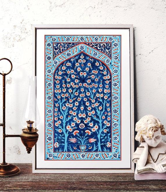 Turkish Tile Tree Of Life Watercolor Painting Traditional With Turkish Wall Art (View 3 of 20)