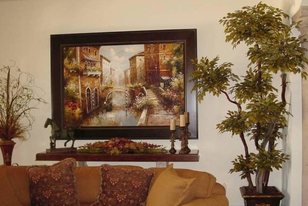 Tuscan Decorating With Framed Wall Art And Indoor Plant And Candle Regarding Framed Italian Wall Art (Image 9 of 20)