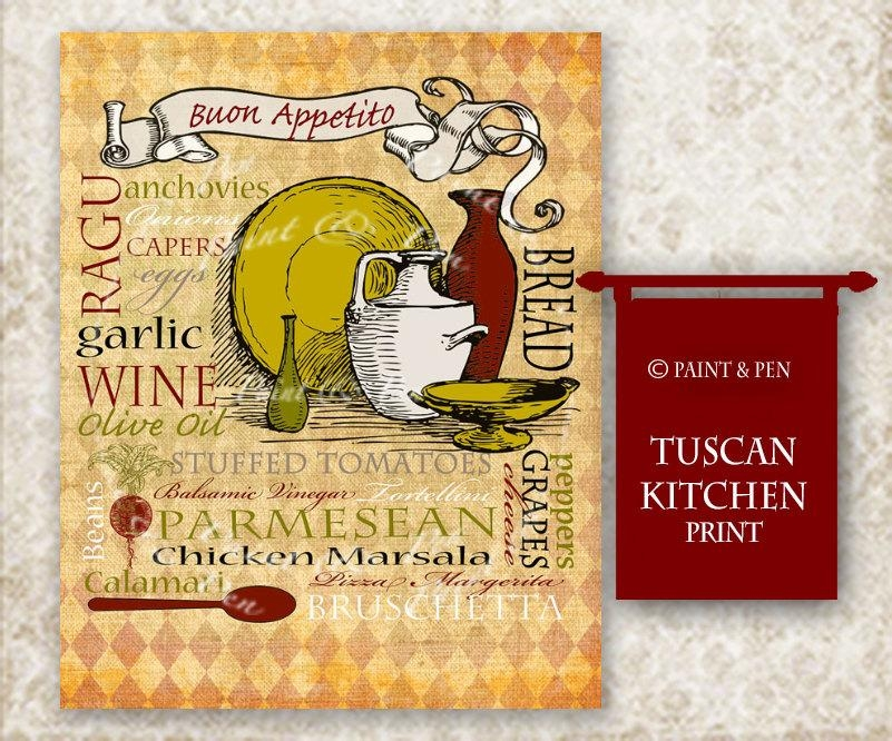 Tuscan Kitchen Decor Tuscan Wall Art Italian Kitchen Sign Throughout Italian Wall Art Prints (Image 5 of 20)