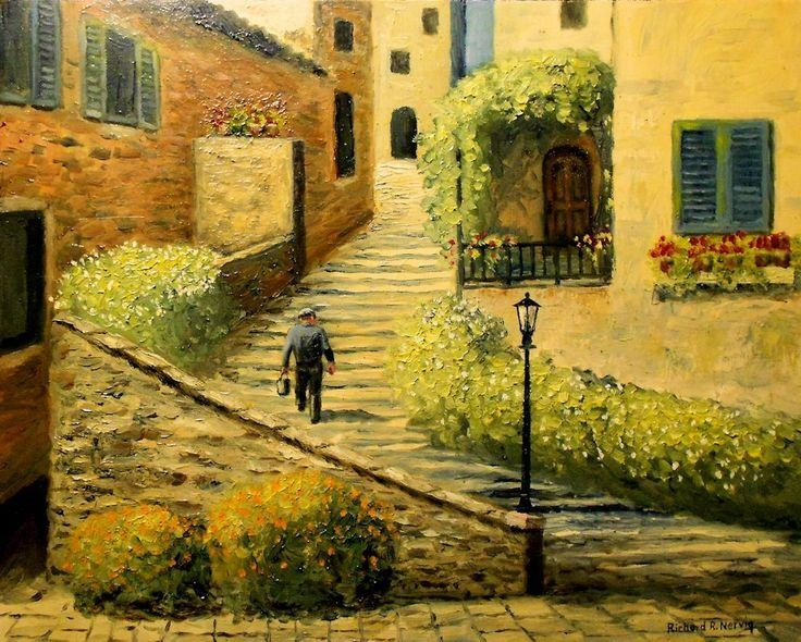 Tuscan Scene Wall Tiles | Tuscany Village Scene, Italy | Europe Within Italian Scene Wall Art (Image 15 of 20)