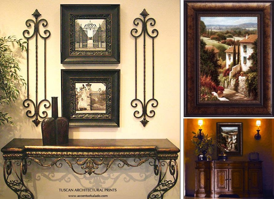 Tuscan Style Wall Decor 2 Set Of Black Framed Vintage Picture And Intended For Vintage Italian Wall Art (Photo 1 of 20)