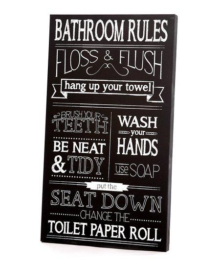 Twelve Timbers Black & White Bathroom Rules Wall Art | Zulily Regarding Black And White Bathroom Wall Art (View 19 of 20)
